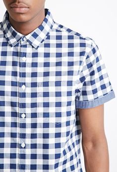 Chambray-Trimmed Gingham Shirt | 21 MEN - 2000133463