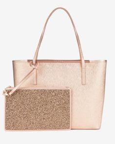 Large leather shopper bag - Rose Gold | Bags | Ted Baker UK