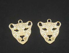 50pcs Gold Leopard Pendant Gold Leopard Charm Pendant by eSupply, $14.99