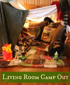 How to Create a Living Room Camp Out for Kids. Fun ideas for creating a camp out in your living room. A fun indoor activity for kids on a rainy day!