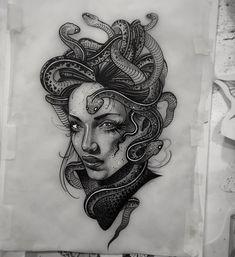 Tatoo Designs, Tattoo Design Drawings, Tattoo Sketches, Medusa Tattoo Design, Leg Tattoos, Body Art Tattoos, Sleeve Tattoos, Tattos, Piercing Tattoo