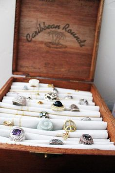 DIY Cigar Box Ring Holder - I have a ton of these. Such a great idea.