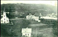 Hordaland fylke Os kommune  oversiktsbilde med kirke og hus. Utg A.J.K.N brukt i 1907