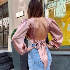 Elegant cropped blouse tops women lovely streetwear backless bow tie shirts glitter satin high neck blouse chic outfits - miss. High Neck Blouse, Crop Blouse, Tie Blouse, Blouse Outfit, White Shirts Women, Blouses For Women, Bow Tie Shirt, Tie Shirts, Satin Shirt