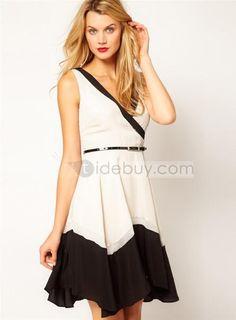 High Quality V-neckline Day Dress : Tidebuy.com