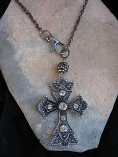 Rhinestone Cross pendant necklace by Nanettemc on Etsy https://www.etsy.com/listing/225986062/rhinestone-cross-pendant-necklace