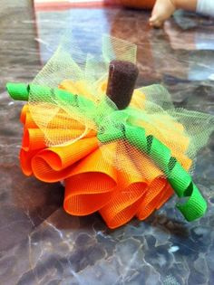 Pumpkin Bow by Samswonderland on Etsy, $6.00