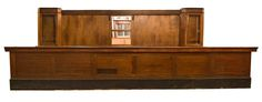 """Brunswick back bar and counter with glass door upper cabinets,lower cupboards and shelf, and multiple drawers  back bar: 216.5"""" long x 18.25"""" deep x 92"""" tall counter: 264.25"""" long x 21.75"""" deep x 44"""" tall"""