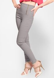 Grey Solid Jeggings