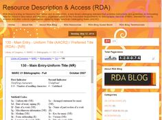130 - Main Entry - Uniform Title (AACR2) / Preferred Title (RDA) - [NR]  #RDA #CATALOGING #RDABLOG #MARC21  http://resourcedescriptionandaccess.blogspot.com/2014/05/130-main-entry-uniform-title-nr.html