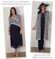 Chesca navy and ivory Mother of the Bride chiffon drape plus size dress and matching lace coat