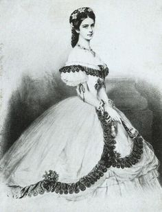 1856 Keizerin Elisabeth The cage crinoline has arrived in all of its glory in this image of Empress Elisabeth