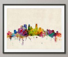 Minneapolis Skyline, Minneapolis Minnesota Cityscape Art Print (527) by artPause on Etsy https://www.etsy.com/listing/162843086/minneapolis-skyline-minneapolis