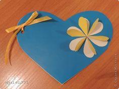Открытка 8 марта Валентинов день День матери Аппликация Очень простое сердечко Бумага Картон Ленты фото 1