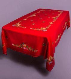 mantel de navidad, bordado a mano en lagartera  tergal,hilatura algodón egipcio bordado,puntada sobre dibujado