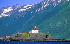 Alaska - Eldred Rock Lighthouse with sky
