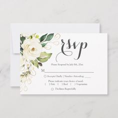 White Rose Gold Floral Greenery Wedding RSVP Reply Card Size: x Color: Matte. Black And White Wedding Invitations, Sunflower Wedding Invitations, Gold Wedding Invitations, Wedding Rsvp, Floral Wedding, Wedding Cards, Wedding Themes, Rose Gold Theme, White Roses