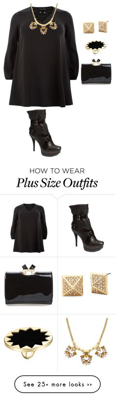"""plus size fall/winter chic in black"" by kristie-payne on Polyvore featuring House of Harlow 1960, Stuart Weitzman and Ted Baker"