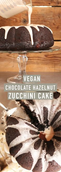 An incredibly moist vegan chocolate hazelnut zucchini cake topped with cinnamon glaze. A dessert everyone will love.