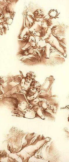 Angel toile paper from Italy Vintage Labels, Vintage Cards, Vintage Illustration, Little Cherubs, Decoupage Printables, Valentine Images, Decoupage Paper, Vintage Ornaments, Vintage Colors