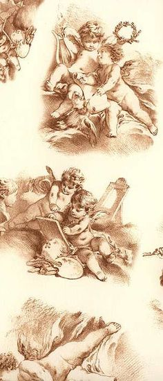 Angel toile Christmas paper from Italy