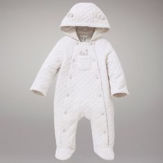 Buy John Lewis Baby Jersey Quilted Snowsuit, Cream Online at johnlewis.com