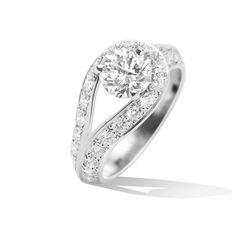Couture solitaire, platinum, diamonds, one round 0.30 ct EVVS2 diamond - http://www.vancleefarpels.com/us/en.html