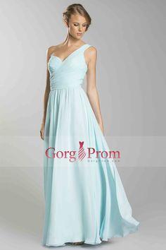 320b6d6a98d6 2014 Cheap prom dresses One Shoulder Sleeveless Floor Length A Line Chiffon  Zipper Up with Ruffles