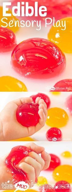 Try this Edible  Sensory Play Balls activity, a truly multi sensory play experience. Kids will love feeling, smelling, hearing, seeing and eating it!