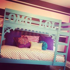 Ikea bunk bed hack. Painted the bed, added some accents with the OMG and LOL letters from michaels.