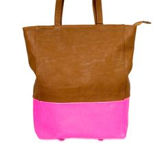 Little Black Bag | Brown/Neon Pink Color Block Tote by Street Level
