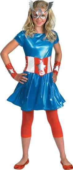 kids avengers captain america girl childteen costume not just for halloween sizes mchildren sizes l children sizes tween tweens sizes includes a