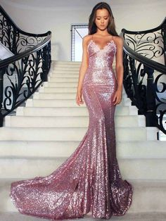 Mermaid Long Rose Pink Prom Party Dresses Sequins Spaghetti Strap Evening Gowns_Prom Dresses Dresses_Special Occasion Dresses_Buy High Quality Dresses from Dress Factory Sequin Prom Dresses, Backless Prom Dresses, Mermaid Prom Dresses, Prom Party Dresses, Homecoming Dresses, Dress Prom, Dress Lace, Graduation Dresses, Prom Gowns