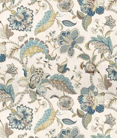 Kaufmann Finders Keepers French Blue Fabric I LOVE these colors! French Country Bedrooms, French Country Style, French Country Decorating, Country Bathrooms, Country Kitchens, Modern Country, Peacock Fabric, Floral Fabric, Blue Fabric