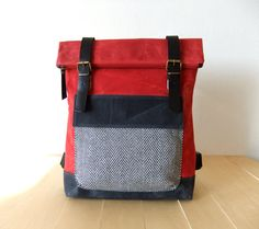 "Waxed Canvas Backpack in Red And Black - Adjustable Cotton Straps - Tweed Pocket - Leather Accessories - 15"" Laptop - Waterproof Bag"