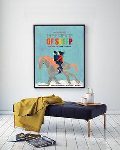 The Science of Sleep, Gael García Bernal, Charlotte Gainsbourg, Michel Gondry, Minimal Movie Poster.