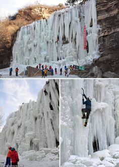 Frozen Waterfall Climbing Great FALL of China Subzero conditions during winter 2014 caused chaos across the world, but in China, adventurers turned the bitter temperatures in a fun pastime.   It was so cold in the Miyun District, Beijing, that a waterfall actually froze solid. The incredible sight has attracted dozens of climbers who, armed with crampons and pickaxes, decided to scale the vast waterfall.
