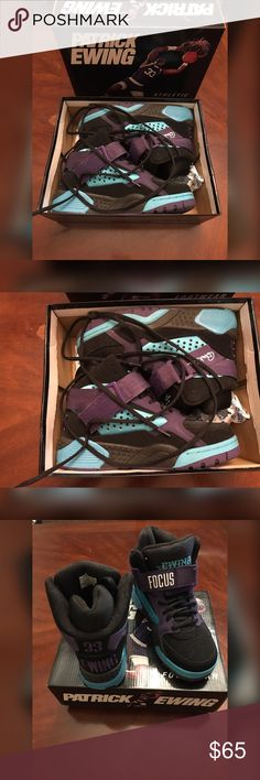 Ewing Focus Black/Teal/Purple 🖤💜 Ewing Focus Black/Teal/Purple 🖤💜   Size 6 youth   Worn twice   Velcro cross strap across lace front   Suede upper   Hi-top Ewing Shoes Sneakers