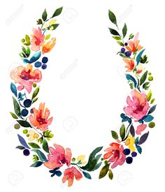 32086074-hand-painted-watercolor-wreath-Flower-decoration-Floral-design--Stock-Photo.jpg (1113×1300)