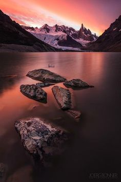 An intense and colourful sunset at Laguna Torre below Cerro Torre.