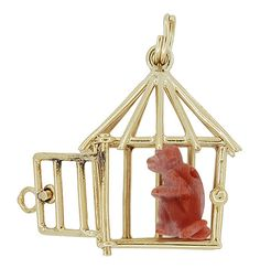 Movable Monkey in a Cage Vintage Charm Pendant - Solid 14K Gold Monkey in a Cage Charm ET-C726..