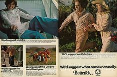 """Smocks, pinafores, the Unique Invisible zipper, and earth clothes. """"We'd suggest what comes naturally. Seventeen Magazine, Film Strip, Photo L, 70s Fashion, Vintage Sewing Patterns, Smocking, 1970s, Cotton Fabric, Earth"""
