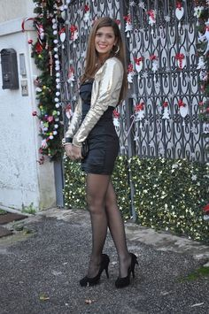 Black Pantyhose, Black Tights, Tight Dresses, Sexy Dresses, Pretty Dresses, Short Dresses, Gold Sequin Jacket, Stockings Lingerie, Black Stockings