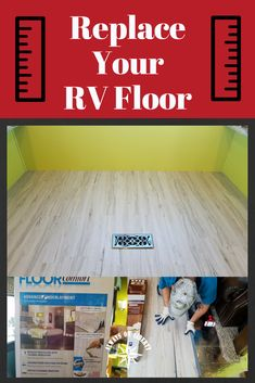 Replace, Renovate or Remodel your RV floor! DIY project that will brighten your RV, 5th wheel, travel trailer, camper or motorhome. Vinyl plank design and decor idea. Self install. Say no to carpet! Home Improvement at its best!