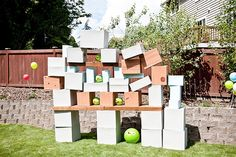 DIY life-size Angry Birds game                                         Get your kids outdoors this summer with this fun idea for a DIY, life-sized Angry Birds game. Sure to be a backyard favorite for everyone in the family, this game can be easily put together with some bouncy balls, cardboard boxes and wood plans for the target wall.