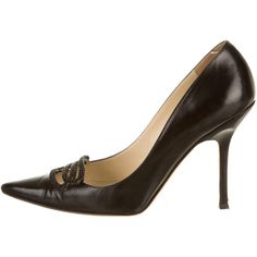 Pre-owned Jimmy Choo Pumps ($145) ❤ liked on Polyvore featuring shoes, pumps, black, black pumps, pointed-toe pumps, leather shoes, beaded shoes and black pointy-toe pumps