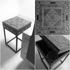 Syrian box / coffee table / side table / steel & wood table / storage table