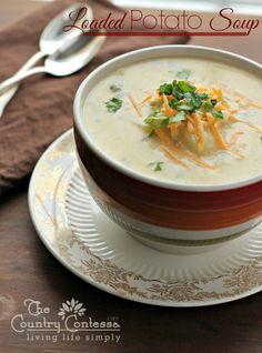 Loaded Potato Soup. Add chicken, broccoli, or take it like it is. Ready in 30 minutes!