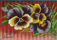 Purple and Yellow Pansies on Vintage Greeting by TheOldBarnDoor, $4.00