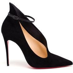 CHRISTIAN LOUBOUTIN Suede Vampydoly Pumps (1,255,695 KRW) ❤ liked on Polyvore featuring shoes, pumps, heels, red sole pumps, pointed toe high heels stilettos, pointed toe stilettos, christian louboutin pumps and red sole shoes